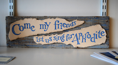 Chorus (reclaimed wood with stoneware panels), text by Frances Bingham