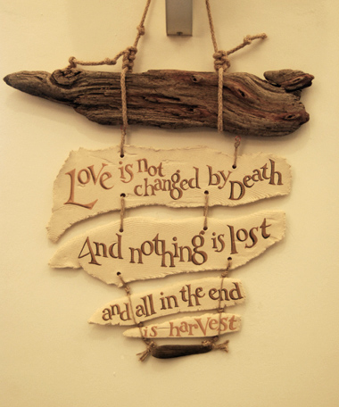 Harvest (Thames driftwood and torn stoneware strips), text by Edith Sitwell
