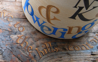 Sheaf (stoneware jar and driftwood block), text by EJ Scovell