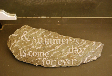 Slate (slate slab, wax, sand), text by Valentine Ackland