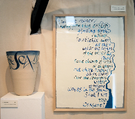 River within (deep stoneware bowl), text by TS Eliot and Roughened water (paperwork), text by Virginia Woolf