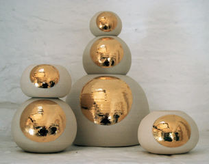 6 spheres (thrown stoneware with 9ct gold lustre)